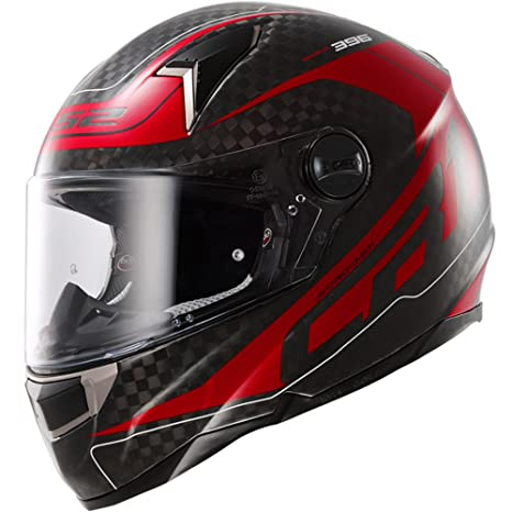 LS2 Casque de moto Ff396 Cr1 Diablo carbone gros rouge