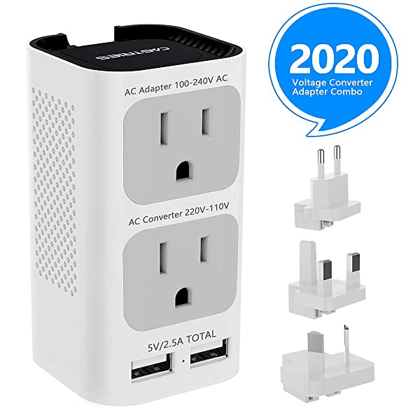Castries Voltage Converter Travel Adapter Combo, 2020 Upgraded Travel Converter Power Step Down 220V to 110V with 2 USB Port and EU/UK/AU/US Plug International Power Adapter for over 200 Countries (Color: White Gray)