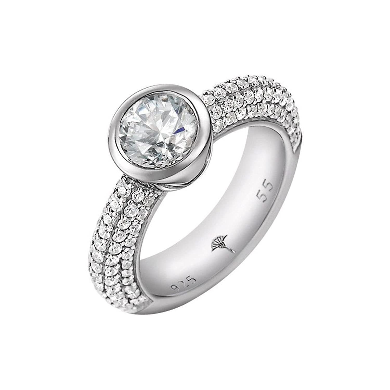 Joop Damen-Ring Meryl Zirkonia-Solitär Zirkonia-Pavée weiÃY 925 Sterling Silber Gr. 55 (17.5) JPRG90646A550