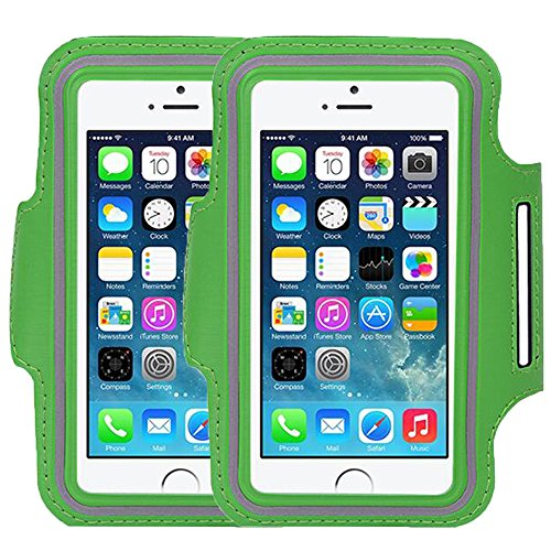 Universal Sports Armband Casehigh Shop Easy Fitting Sports Running Armband with Build in Screen Protect Case Cover Scratch-Resistant Material Slim Light-Weight (Armband Green 2 Pack) (Tenis Air Max compare prices)