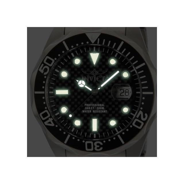 Invicta Mens Pro Diver Black Carbon Fiber Dial Stainless Steel Bracelet Watch 12562