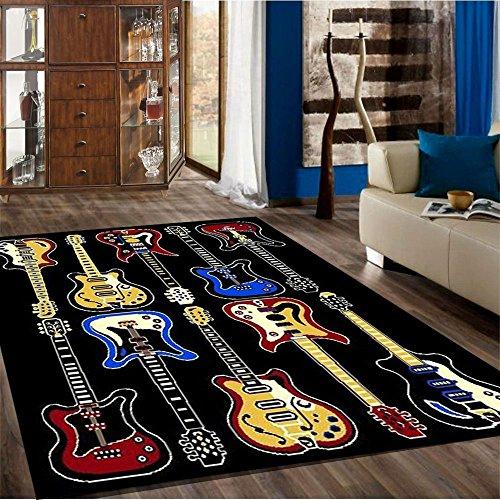 Kids Children Bedroom Fun Musical Theme Rugs Contemporary Carpet (Guitar 5'2