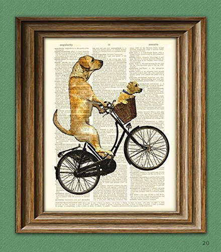 the-long-voyage-home-yellow-labrador-retriever-and-lab-puppy-dog-on-a-bike-upcycled-dictionary-page-