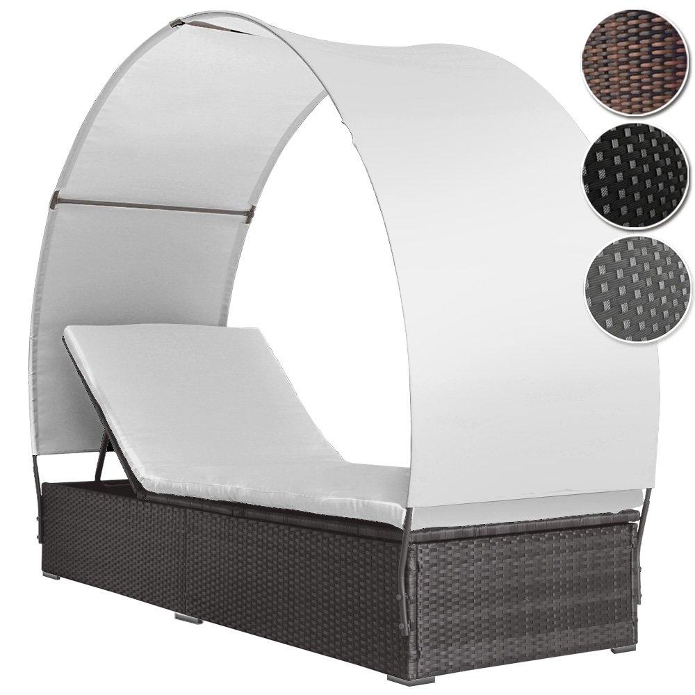 Poly Rattan Lounge Sonnenliege mit Dach Rückenlehnen 4-fach höhenverstellbar (Farbwahl) jetzt bestellen