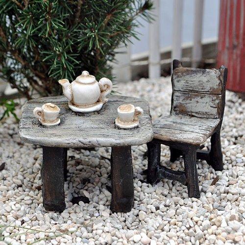 Miniature Fairy Garden Afternoon Tea Table And Chair