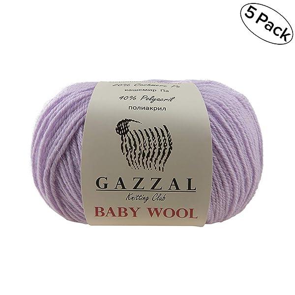 5 PACK - Gazzal Baby Wool 1.76 Oz (50g)/218 Yards (200m) Fine Baby Yarn, 40% Lana Merino, 20% Cashmere Type Polyamide; (Lilac Purple - 823) (Color: Lilac Purple - 823, Tamaño: 5 Pack)