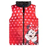 Disney Little Girls' Minnie Mouse Character Zip Up Puffer Vest Red Black (5)