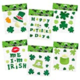 6 St. Patrick s Day Gel Clings; Includes: Shamrock, Leprechaun Hat, Pot-O-Gold, Kiss Me I m Irish and More!!