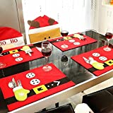 BUDI Christmas Table Mats Set of 6 Xmas Decors Food Dinning Placemats with Tableware Holder Bag (6)