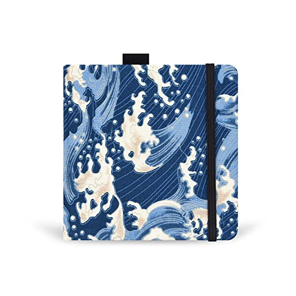 Square 5.1X5.1 300gsm Watercolor Journal Hardbound 40pgs(20 Sheets Front Back 2 Textures)Travel Size for Calligrapher Colored Pencil Watercolor Sketch Handmade Cloth Cover Notebook Wave (Color: wave)