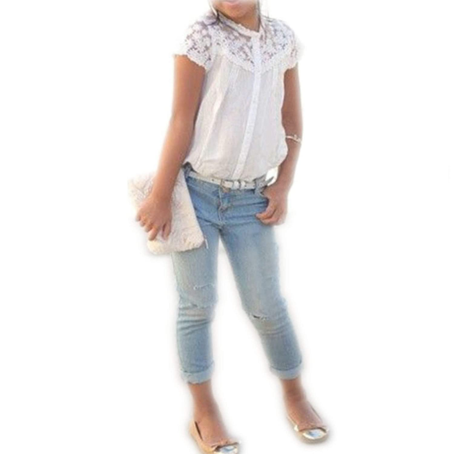 Finejo Baby Girls Kids Blouse+Jeans Pants Casual Clothes Sets Suit Outfits girls denim outfits for kids clothing sets for girls jeans jackets