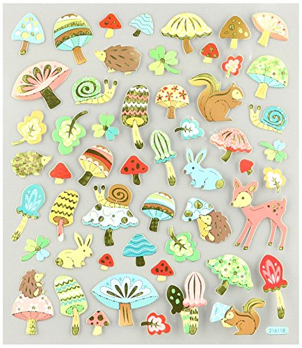 Multi-Colored Stickers-Woodland Animals and Mushrooms - 1