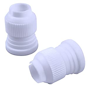 Jdesun 20 Pieces Plastic Standard Couplers Cake Decorating Coupler Pipe Tip Coupler for Icing Nozzles, White