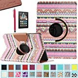 Kindle Fire HDX 7 Case - ULAK 360 Rotating PU Leather Case Cover for Amazon Kindle Fire HDX 7 Inch 2013 Gen with Smart Cover Auto Wake/Sleep Feature and Stylus (OVERDOSE)