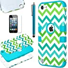 Pandamimi ULAK(TM) Hybrid Hard Pattern with Silicon Case Cover for Apple iPod Touch 5 Generation with Screen Protector and Stylus (Blue/Green Wave)
