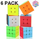 Speed Cube Set, 3x3x3 Speed Cube 56mm Magic Cube Professional Puzzle Cube Set Toy Great Gift for Kid [6 Pack]