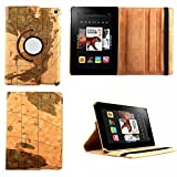 HPYHero® NEW STYLE Fire HD 7 Case - Luxury 360 Rotating Magnetic Smart PU Leather Case Cover for Amazon Kindle Fire HD 7 2014 with Wake & Sleep Function (will only fit Amazon Kindle Amazon Kindle Fire HD 7 4th Generation 2014 model) (map light brown patt