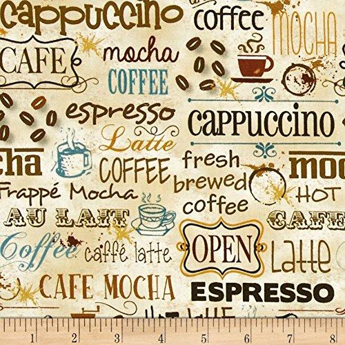 Caffe Latte Coffee Words Multi Fabric