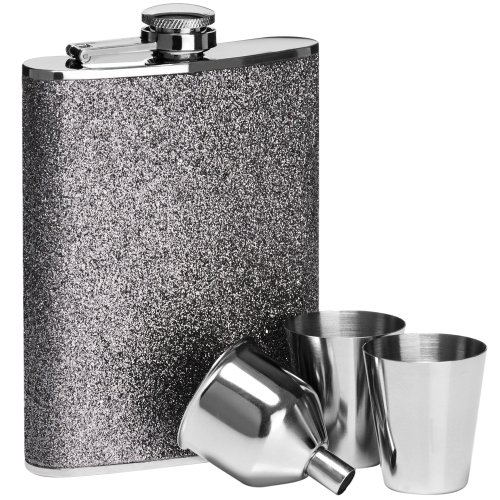 8oz Hip Flask Set With 2 Cups And Funnel Stainless Steel Silver Glitter Colour
