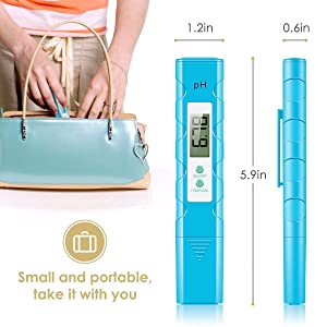 Digital PH Meter, PH Meter 0.01 PH High Accuracy Water Quality Tester with 0-14 PH Measurement Range for Household Drinking, Pool and Aquarium Water PH Tester Design with ATC (Color: Blue-1)