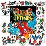 Rock Star Temporary Tattoos Party Favor Set (58 Rocker Tattoos)