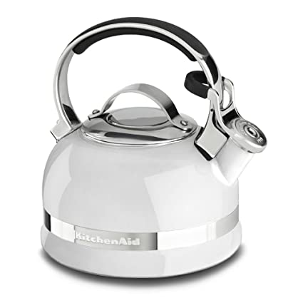 AmazonSmile: KitchenAid KTEN20SBWH 2.0-Quart Kettle with Full Stainless Steel Handle and Trim Band - White: Kitchen & Dining
