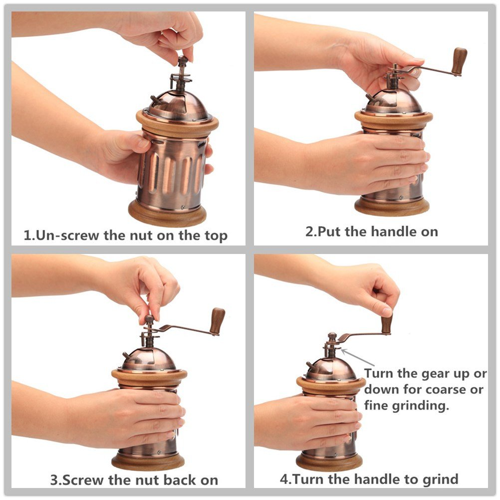 3E Home Manual Canister Stainless steel Burr Coffee Mill Grinder, Stainless Steel Top, and Antique Copper Body 5