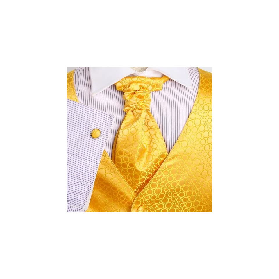 Yellow Polka Dots Mens Designer Tuxedo Vest Set Match Tuxedo Vests for Men ,Cufflinks, Hanky and Ascot Tie for Suit Y&G VS2007