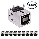 USB Female Type-B Port 4-Pin Right Angle PCB DIP Jack Socket 10 Pack by MXRS (Color: 2, Tamaño: 20 Piece)