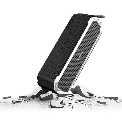 Homdox imperméable haut-Parleur Portable sans fil Bluetooth 4.0 avec microphone intégré et prise d'entrée/d'extérieur Lampe torche