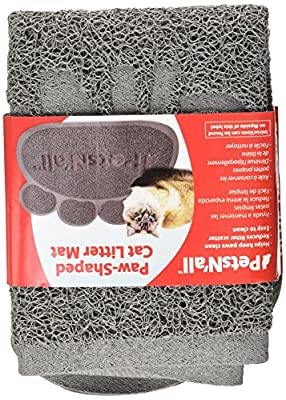 PetsN'All Paw Shaped Cat Litter Mat 24x18 Inches, Grey - Waterproof Material
