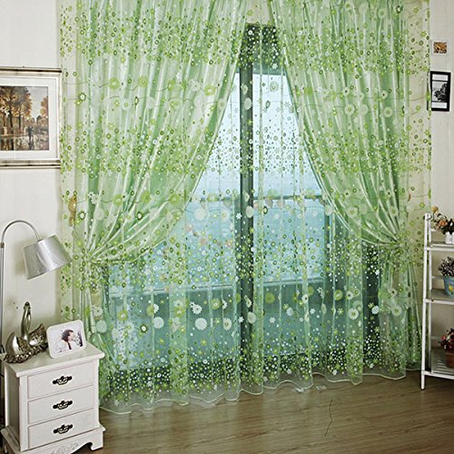 Generic 1M*2M Green Countryside Flower Tulle Voile Window Curtain Panel Sheer Drapes