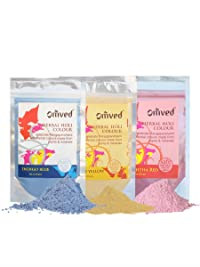 Omved Herbal Gulal for Eco-friendly holi - Set of 3 Colors - 300 Gms