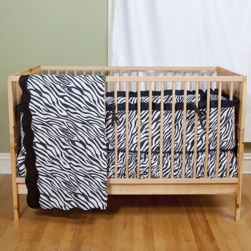 Sin in Linen Zebra Stripe Baby Crib Skirt and Crib Sheet - 1