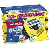 Vileda 142596 Glitzi Plus mit Antibac - Topfreiniger zur Entfernung von hartnäckigem Schmutz - Gründlich, hygienisch & saugstark - 9er Sparpack