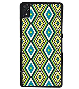Printvisa Blue And Yellow Diamond Pattern Back Case Cover for Sony Xperia Z2::Sony Xperia Z2 L50W D6502 D6503