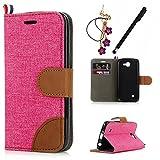 MAXFE.CO Lederhülle Leder Tasche Case Cover für LG K4