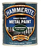 New 2014 Hammerite Hammered Direct To Rust Metal Paint Dark Green 750Ml