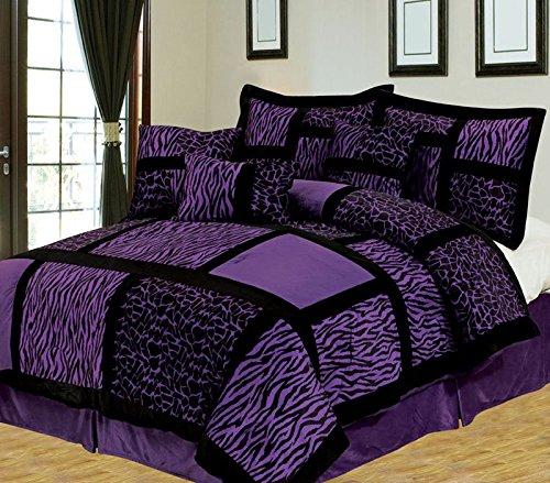 7 Piece Queen Safari Purple and Black Patchwork Micro Suede Comforter Set
