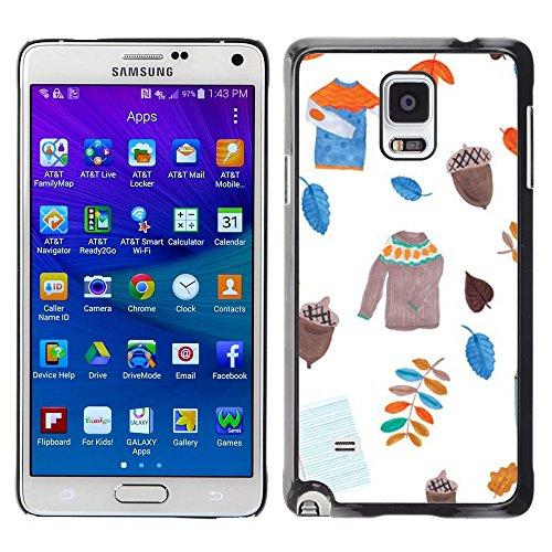 Pulsar Snap-on Series plastica caso dura Guscio Protettivo Cassa Cover Case per Samsung Galaxy Note 4 IV / SM-N910F / SM-N910K / SM-N910C / SM-N910W8 / SM-N910U / SM-N910G , Leavers Sweater White Acorn