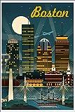 Boston, Massachusetts - Retro Skyline (12x18 Art Print, Wall Decor Travel Poster)