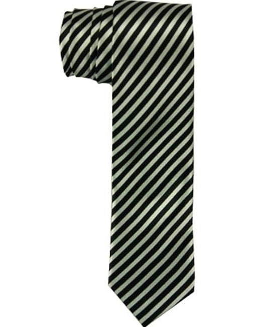 Black and White Diagonal Stripes Skinny Tie