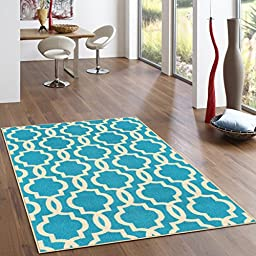 Rubber Backed 2-Piece Rug SET Fancy Moroccan Trellis Light Blue & Ivory Area Non-Slip Rug - Rana Collection Kitchen Dining Living Hallway Bathroom Pet Entry Rugs RAN204BLU-2PC