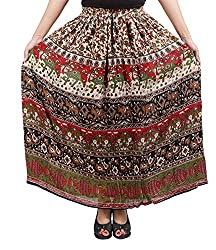 FEMEZONE Skirt Women's Cotton Regular Fit Rayon and Crepe Skirt (RED &BROWN, XXL)