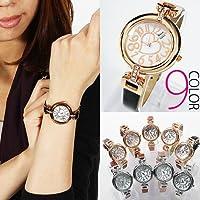 ・腕時計 レディース ハート&ストーンフェイス腕時計 革ベルト ピンクゴールド&レッド