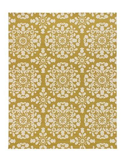 Hand Hooked Samarkand Wool Rug, Cream/Gold, 8' x 10'