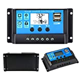 mistyfalls Solar Charge Controller 20A Solar Panel Battery Controller 12V/24V PWM Solar Controller Intelligent Regulator Adjustable LCD Display with Dual USB Load Timer Setting ON/Off Hours