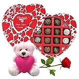 All Beautiful Chocolates Balls Pairs With Teddy & Rose - Chocholik Belgium Chocolates