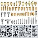 60 pcs Wood Burning Tips Set and Stencils, Pyrography Wood Burning Alphabet Numbers Symbols Stamps Set( Include 54 Assorted Wood Burning/Carving/Embossing & Soldering Tips and 6 Stencils)
