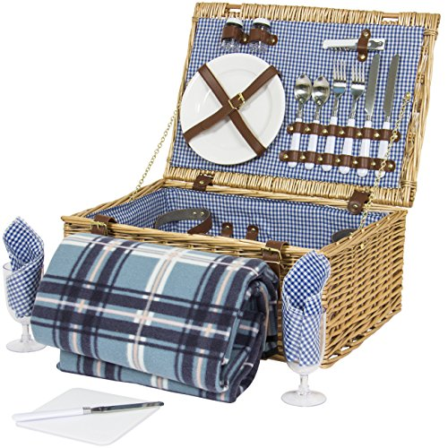 Buy Cheap Best Choice Products 2 Person Wicker Picnic Basket W/ Cutlery, Plates, Glasses, Tableware ...